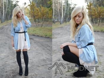 Koszula Denim, http://www.allegro.pl; Skarpetki Atmosphere, http://www.allegro.pl; Sukienka H&M, http://www.allegro.pl; Botki, http://www.allegro.pl