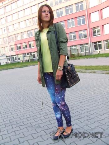 Legginsy Brzozowska Fashion, http://www.allegro.pl; Top Gerry Weber, Scandia Częstochowa; Kurtka Vila, http://www.allegro.pl; Torebka Oasap, http://www.oasap.com
