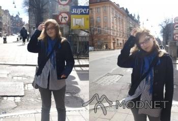 Torebka allegro, http://www.allegro.pl; Okulary vision express, C.H. Forum Gliwice; Kurtka Vero Moda, Arena Gliwice; Koszula Zara, C.H. Forum Gliwice
