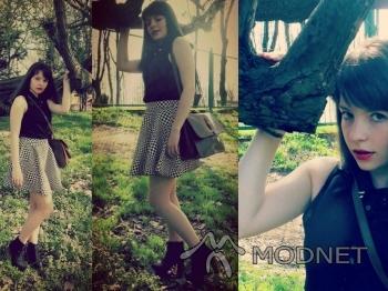 Spódnica Sequin Shoes, http://sequinshoes.pl; Koszula H&M Divided, Plaza Rybnik; Botki Jeffrey Campbell, http://www.allegro.pl; Torebka NO NAME, http://www.allegro.pl