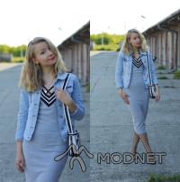 Sukienka Sheinside, http://shein.com; Kurtka NO NAME, Second Hand Rzeszów; Kolczyki Vintage, Dyskont odzieżowy Mielec; Baleriny Lidl, lidl Mielec